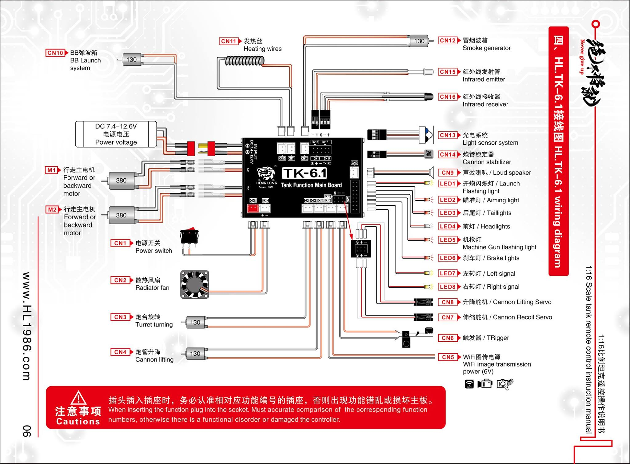 connection diagrams for the newest TK6.0 and TK6.1 MFU electrics for Heng Long 1/16 scale RC Tanks